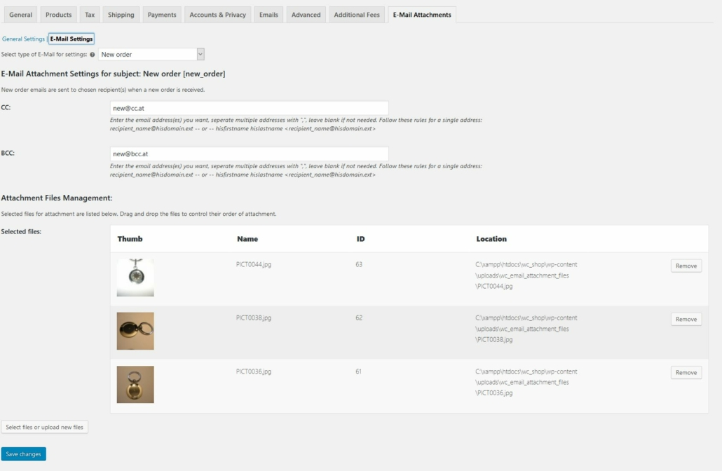 Woocommerce E-Mail Attachments Extension - Screenshot of the e-mail attachments admin/settings page (E-Mail settings)